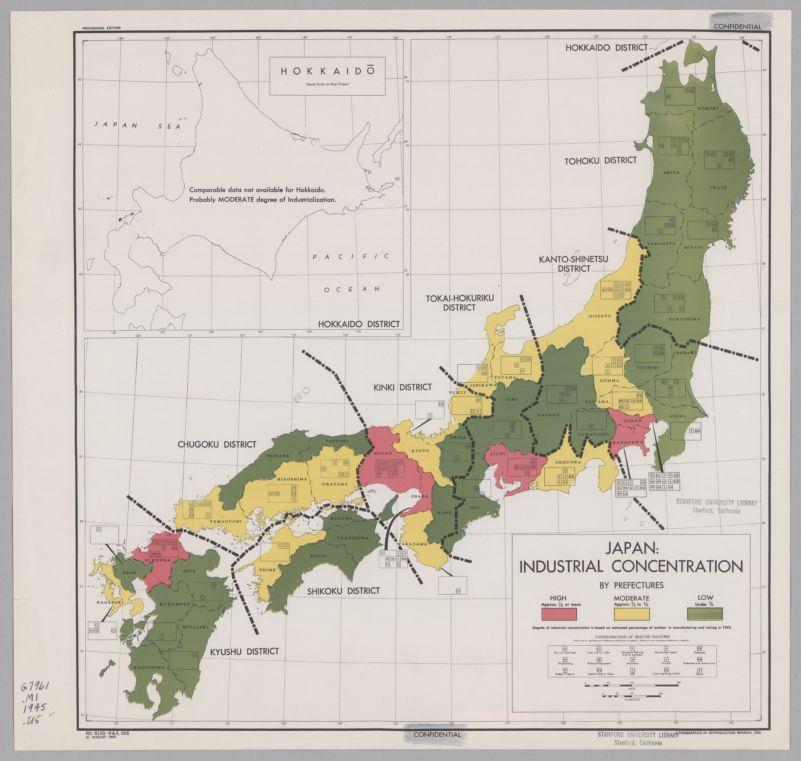 Japan : industrial concentration by prefectures
