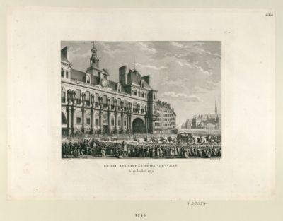 Le  Roi arrivant à l'Hôtel-de-Ville le 17 juillet 1789 : [estampe]