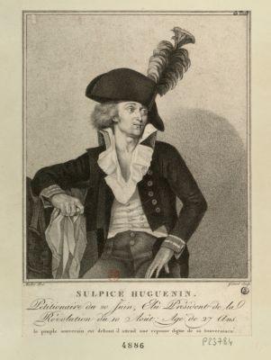 Sulpice Huguenin petitionaire du 20 juin, élu président de la revolution du <em>10</em> août, âgé de 27 ans ; le peuple souverain est debout, il attend une réponse digne de sa souveraineté : [estampe]
