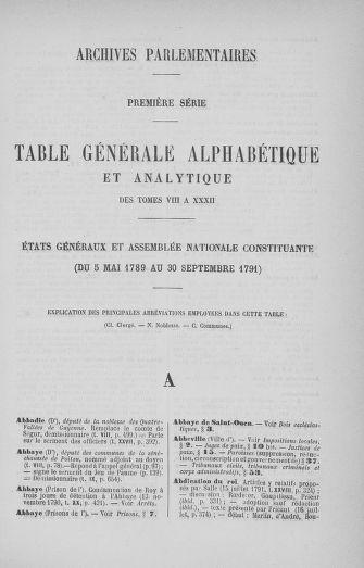 Tome 33 : Table générale alphabétique de l'Assemblée nationale Constituante - page ..