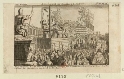 Brissot et 20 de ses complices à la guillotine le 10 brumaire de l'an <em>2</em>.eme de la République française une et indivisible, Brissot et 20 de ses complices subirent leur jugement sur la place de la Révolution : [estampe]