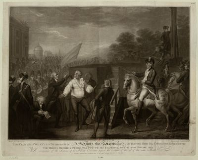 The  Calm and collected behaviour of Lewis the Sixteenth on parting from his confessor Edgeworth the moment before a period was put to his existence on the 21 of January <em>1793</em> in consequence of the sentence of the national Convention passed the night of the 19th of the same month : [estampe]