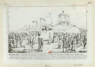 Rendez donc à César ce qui est à César et à Dieu ce qui est à Dieu. selon St Mathieu chap. 22 l'Assemblée nationale a arreté <em>le</em> jour des morts à 568 voix <em>contre</em> 346 1.o que les biens ecclésiastiques sont à <em>la</em> disposition de <em>la</em> nation, à <em>la</em> charge de pourvoir d'une manière convenable à l'entretien de ses ministres... : [estampe]