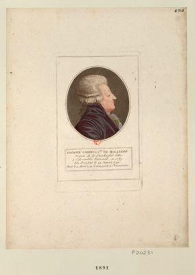 Honoré Gabriel c.te de Mirabeau député de la sénéchaussée d'Aix, <em>à</em> l'Assemblée nationale en 1789 Elu président le 29 janvier 1791, mort le 2 avril 1791 et transporté <em>à</em> Ste Geneviève : [estampe]