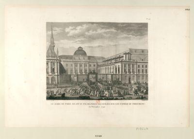 Le  Maire de Paris allant au Palais poser les scélés sur les papiers du Parlement en novembre <em>1790</em> : [estampe]