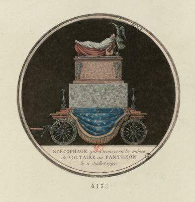 Sercophage qui a transporté les manes de Voltaire au Panthéon le 11 juillet 1791 [estampe]