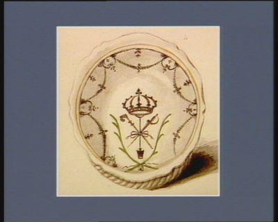 [Assiette décorée des symboles de la Royauté et des Trois Ordres] [dessin]