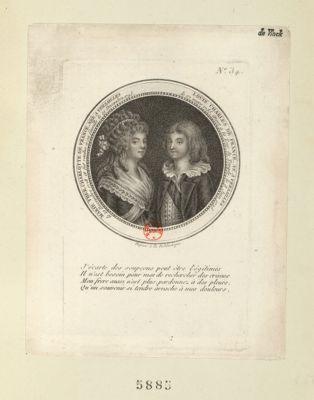 Marie Ther. Charlotte de France Louis Charles de France : née à Versailles le 19 decembre 1778 et fut rendue à sa famille, le 19 decembre 1795... : né à Versailles le 27 mars 1785, mort à la Tour du Temple, le 8 juin 1795 : [estampe]
