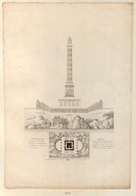 Colonne a la Paix Sujet d'un prix d'Emulation sur Esquisse, Médaille Obtenue par Alavoine, le 11 Pluviose an 6, 30 Janvier 1798 : [estampe]
