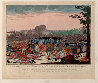 Bataille de Millésimo, Laharpe, Massena Généraux de division le 26 [i.e. 25] Germinal An 4. Gagnée sur les austro-sardes, 2 500 tués ou blessés 8 000 prisonniers... : [estampe]
