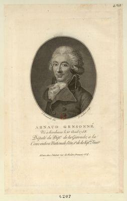 Arnaud Gensonné né à Bordeaux le 10 août 1758, député du dép.t de la Gironde, à la Convention nationale. .. : [estampe]