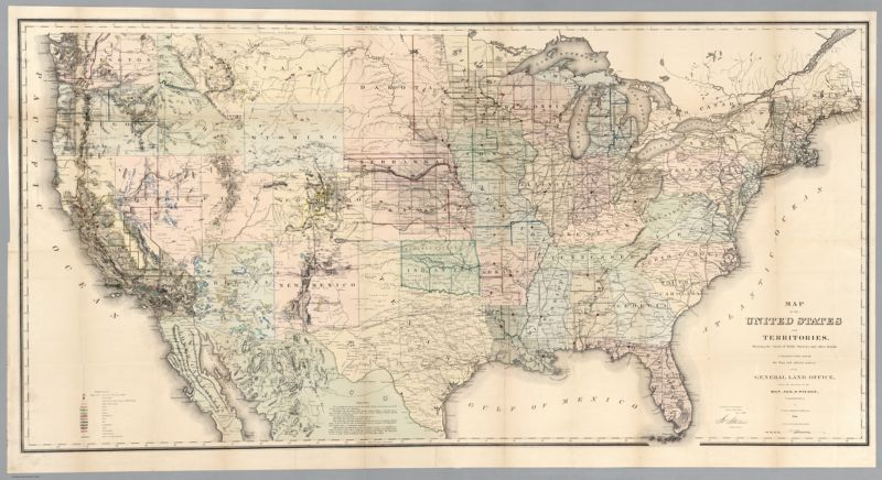 Map of the United States and Territories, Showing the extent of Public Surveys and other details. Constructed From the Plats and official sources of the General Land Office, Under the direction of the Hon. Jos. S. Wilson, Commissioner, by Joseph Gorlinski, Draughtsman, 1868. Ferd. Mayer & Sons, Mammoth Print, 96 & 98 Fulton St. New York. Department of the Interior General Land Office Nov. 1, 1869. Jos. S. Wilson, Commissioner
