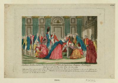 Audience du Roi et de la Reine accordée à la veuve de l'infortuné François Boulanger massacré par la populace le 21 octobre 1789 : cette jeune veuve fut présenté à leurs Majestés en la galerie des Thuileries le 15 novembre 1789 par les officiers du district de Notre Dame, le roi et la reine attendris sur le sort de cette infortunée lui accorderent une pension de 600 <em>l</em>. reversible sur la tête de son enfant : [estampe]