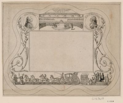 Assemblée Nationale tenne [sic] au Manege royal du chateau des Thuilleries en 1789 90 et 91 Mr Silvain Bailly maire de la ville de Paris ; Mr le m.is de la Fayette commandant de la Garde nationale ; [Retour du Roi à Paris] : [estampe]