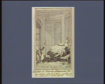 L' Agilité de Marie Antoinette fit pour cette fois culbuter le héros, qui alla tomber rudement sur la porte vitrée [estampe]