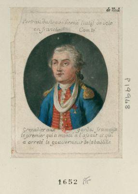 Portrait du brave Herné natif de Dole en Franche Comté grenadier aux gardes française le premier qui a monté à l'assaut et qui a arreté le gouverneur de la Bastille : [estampe]