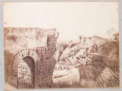 Ponte Salario, resti del ponte dopo la demolizione compiuta dai francesi all'approssimarsi di Garibaldi nell'ottobre 1867
