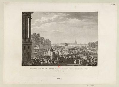 Première fête de la Liberté à l'occasion des Suisses de Chateau-Vieux le 15 avril 1792 : [estampe]