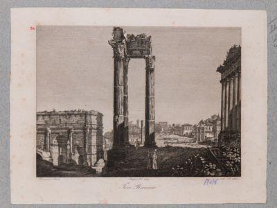 Tempio di Vespasiano, con panorama del Foro