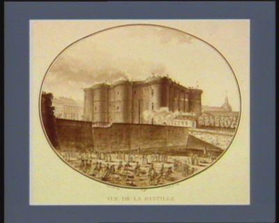 Vue de la Bastille prise derriere les fossés du fauxbourg St Antoine, à l'instant où l'on se disposoit à former une attaque de ce côté : [estampe]
