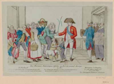 Les  Etrennes patriotiques offertes au Roi au nouvel an <em>1790</em> le vieillard. Ah ! Sire il est donc venu ce tems où nous n'avons plus qu'un roi a qui nous puissions sans crainte donner des marques de nôtre amour... : [estampe]