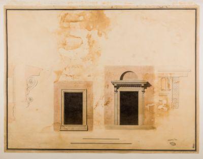 Piazza del Popolo. Fabbricato Torlonia, facciata, dettaglio architettonico