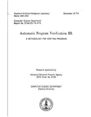 Automatic Program Verification III: A Methodology for Verifying Programs. AIM-256