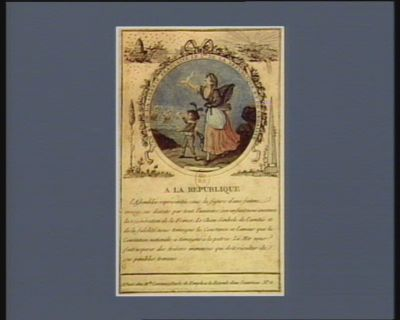 A la République l'an 4.<em>e</em> de la liberté française le 1.er de la république et de l'egalité... : [estampe]