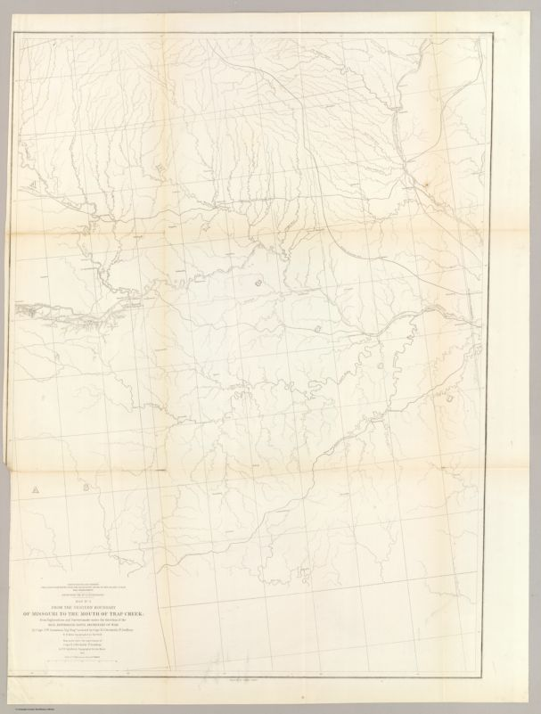 From the Western Boundary of Missouri to the Mouth of Trap Creek; from Explorations    and Surveys made under the direction of the Hon. Jefferson Davis Secretary of War by Capt. J.W    Gunnison. Topl. Engrs. assisted by Capt. E.G. Beckwith 3d Artillery. R.H. Kern Topographer in the    field. 1855. Explorations and surveys for a railroad route from the Mississippi River to the    Pacific Ocean. War Department. Route near the 38th & 39th Parallels. Map No. 1. Engraved by    Selmar Siebert
