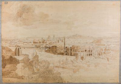 Panorama parziale di Roma. Esquilino, Colosseo e Celio visti dal Palatino