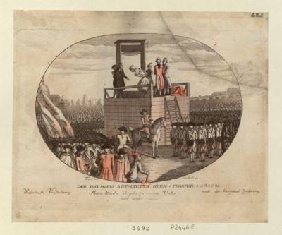 Der  Tod Maria Antoinetta Koen : V : Franckr : d : 16 Oct : 1793 Meine Kinder ich gehe zu curem Vater ! lebt wohl : [estampe]